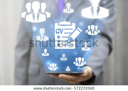 CV - Curriculum Vitae job office clipboard interview business web smartphone online concept. Search vacancy resume education e-learning technology