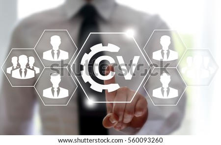 CV - Curriculum Vitae job office interview business web computer online social network concept. Search vacancy resume education e-learning technology