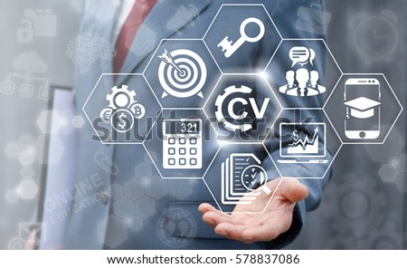 CV - Curriculum Vitae job office interview service business web computing online concept. Recruitment, skill search, vacancy resume education e-learning technology. Man offers cv gear icon.
