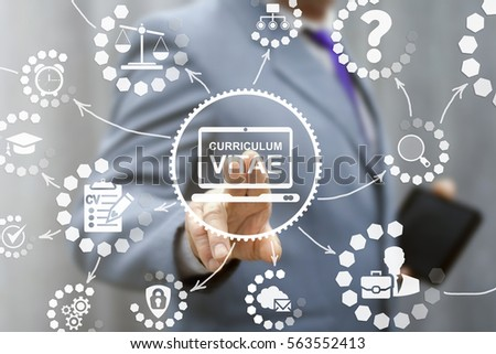 CV - Curriculum Vitae laptop job office interview business web online concept. Search vacancy resume computing education e-learning technology