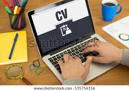 CV Icon Concept on Laptop Screen