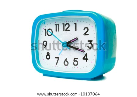 Cyan alarm clock on a white background