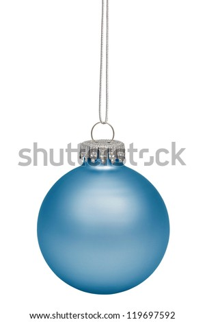 Cyan christmas bauble isolated on white background