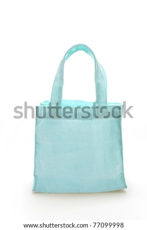 Cyan Cotton bag on black isolated background with a clipping path.