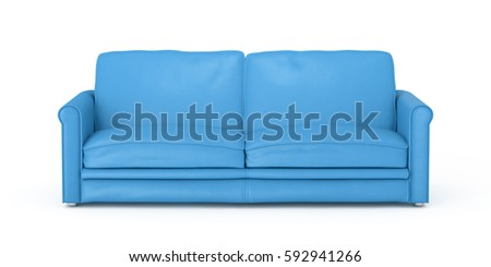 Cyan leather sofa isolated on white background. Include clipping path. 3d render