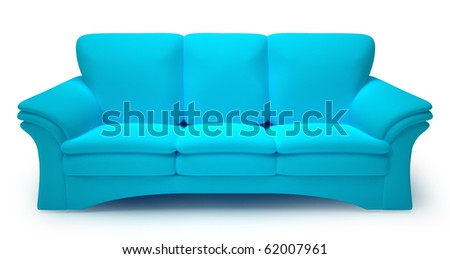 Cyan sofa isolated on white background