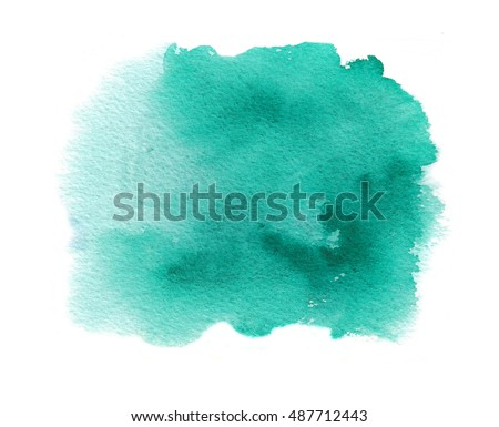 Cyan watercolor texture stain with aquarell splash and brush strokes