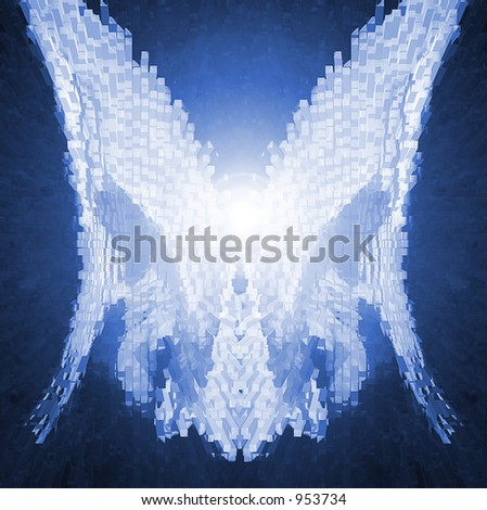 Cyber Angel Wings - stock photo