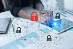 Cyber attack detection. Internet security, information and data safety concept. GDPR. Privacy.