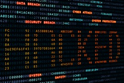 cyber, attack,hacked word on screen binary code display, hacker