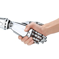 Cyber communication design concept. Male robot and human holding hands with handshake.