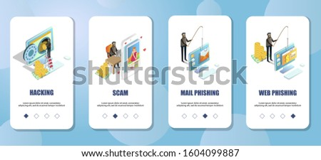 Cyber crimes mobile app onboarding screens. Menu banner template for website and application development. Hacking, scam, web and mail phishing.