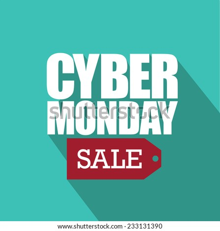 Cyber Monday flat design with sale tag