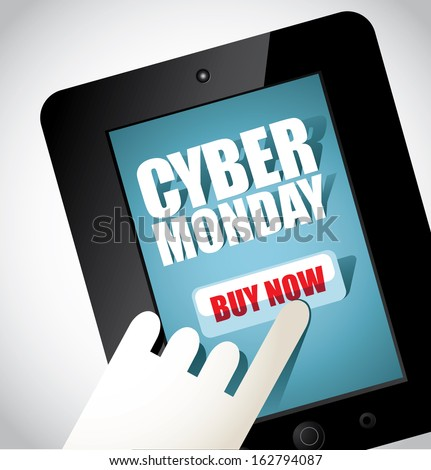 Cyber Monday tablet design element. EPS 10 vector, grouped for easy editing. No open shapes or paths. - stock photo