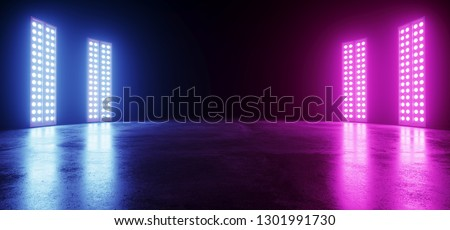 Cyber Neon Glowing Sci Fi Modern Futuristic Retro Big Empty Vibrant Purple Blue Pink Glowing Stage Showroom Club Dance On Dark Background Grunge Concrete 3D Rendering Illustration