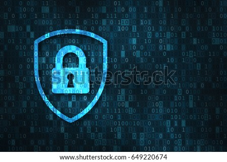 Cyber security and data privacy protection concept with icon of a shield and lock over binary digits background Сток-фото ©