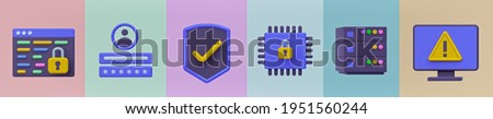 cyber security and data protection related icons set. 3d rendering