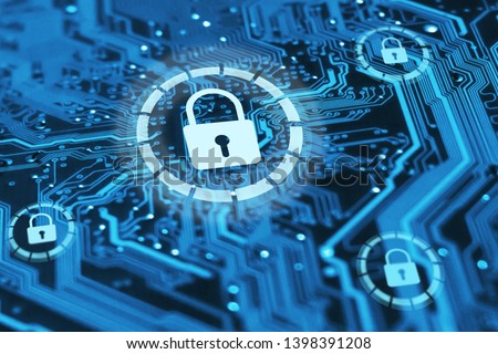 Cyber security and protection of private information and data concept. Locks on blue integrated circuit. Firewall from hacker attack. Stock photo ©