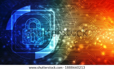 Cyber Security and safety information, personal data concept. Digital Padlocks on abstract technology background, Technology security concept. Modern safety digital background. Protection system