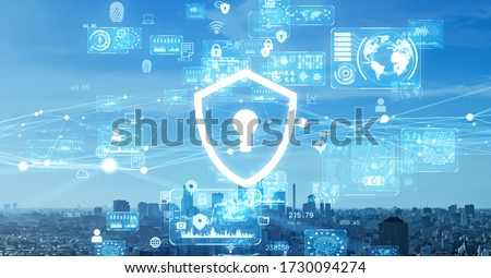 Cyber security concept. Encryption. Data protection. Anti virus software. Communication network.