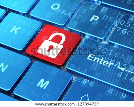 Cyber security concept: keyboard button with Closed Padlock icon with digital data background. Illustrates internet or network security idea. 3d render.