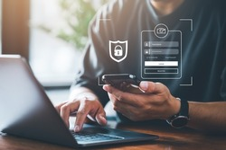 cyber security concept, Login, User, identification information security and encryption, secure access to user's personal information, secure Internet access, cybersecurity.