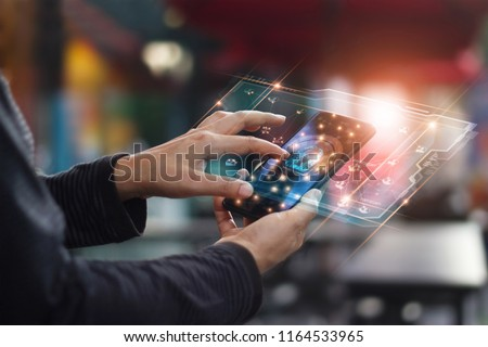 Cyber security. Data protection concept. Banking security. Hands touching digital icon padlock and network connection on mobile smartphone, virtual interface screen.