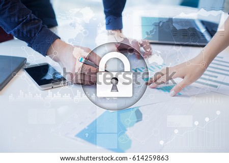Cyber security, Data protection, information safety and encryption. internet technology and business concept.  Virtual screen with padlock icons.  #614259863