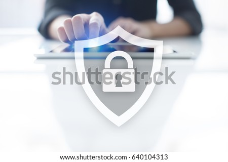 Cyber security, Data protection, information safety and encryption. internet technology and business concept.  Virtual screen with padlock icons. - Shutterstock ID 640104313