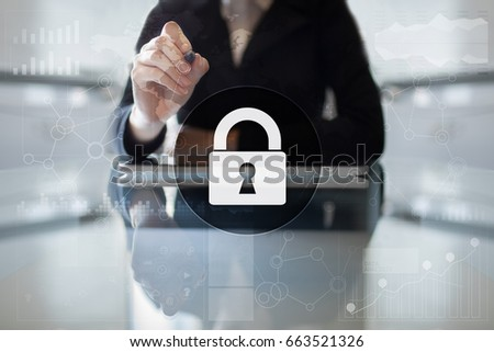 Cyber security, Data protection, information safety and encryption. internet technology and business concept.  Virtual screen with padlock icons. #663521326