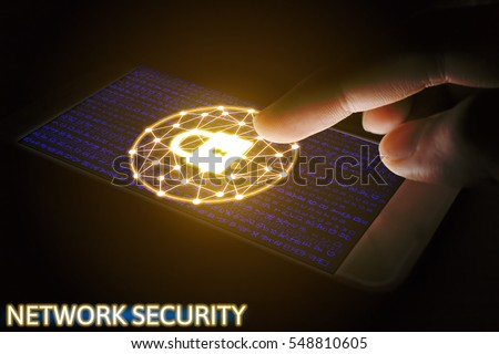 Shutterstock Cyber security network concept, Man using smartphone with lock networking virtual screen.