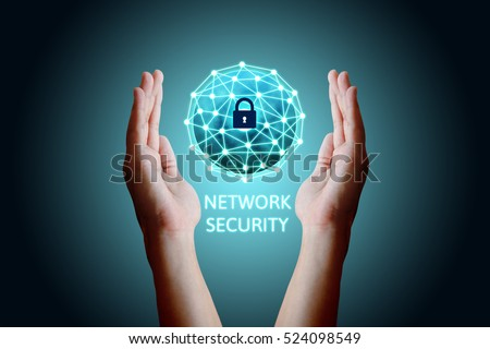 Cyber security network concept, Young asian man holding global network security.