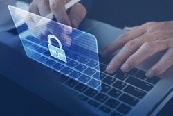 Cyber Security Protection Firewall Interface Concept. Software technology development, digital crime. Man working on laptop computer, antivirus alert, malware detected, Hacker hacking business data