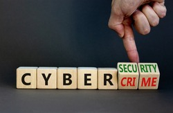 Cyber-security vs cybercrime symbol. Businessman turns wooden cubes, changes words Cybercrime to cyber-security. Beautiful grey background. Cyber-security vs cybercrime concept. Copy space.