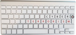 Cyber Terrorism Text and Target Sign on White Keyboard