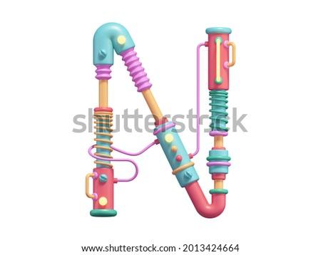 Cyber toy font. Plastic, neon light. Letter N. 3d rendering. Foto stock ©