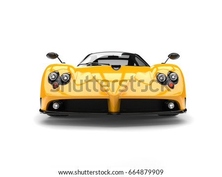 Cyber yellow concept luxury sports car - front view - low angle - 3D Illustration