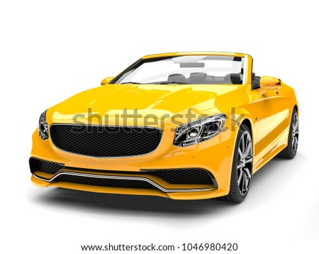 Cyber yellow modern convertible luxury car - front view closeup shot - 3D Illustration