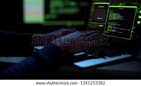 Cybercriminal creating malicious software, typing on laptop keypad, closeup #1341253382