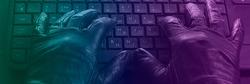 Cybercriminal, hands in gloves on laptop keyboard, photo toned in neon light.