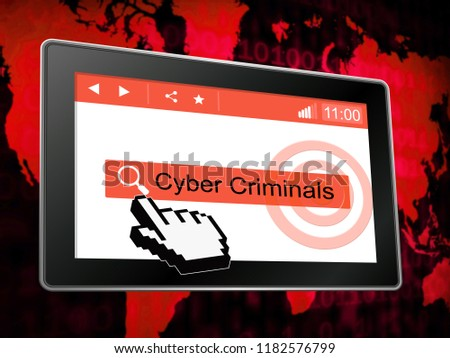 Cybercriminal Internet Hack Or Breach 3d Illustration Shows Online Fraud Using Malicious Malware Or Virtual Computer Theft