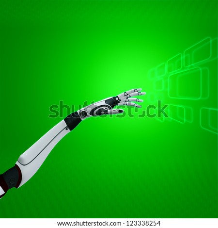 cybernetic hand on abstract background sci-fi robot working with green virtual interface