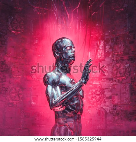 Cybernetic visions reboot / 3D illustration of futuristic metallic science fiction male humanoid cyborg inside computer core