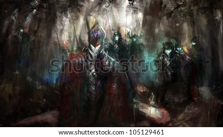 Stock Photo cybernetics army in the forest