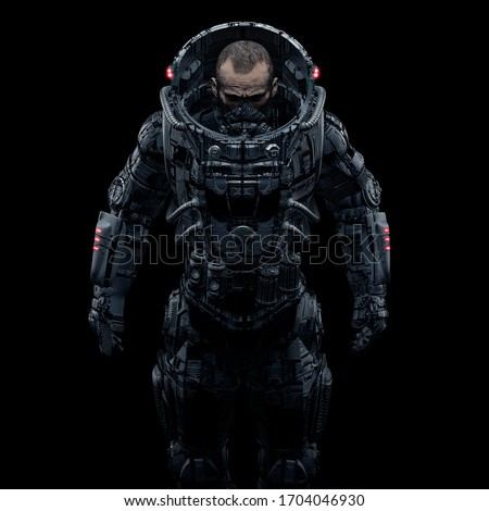 Cyberpunk soldier portrait / 3D illustration of male science fiction heavily armoured military astronaut isolated on black background Stock photo ©