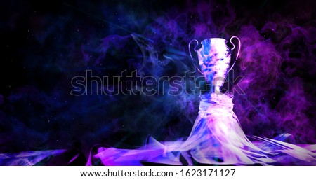Cyberpunk trophy with smoke on dark blue futuristic background for e-sport winner concept,illustration picture, Photo stock ©