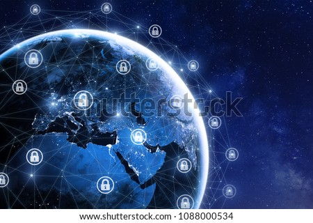 Cybersecurity and global communication, secure data network technology, cyberattack protection for worldwide connections, finance, IoT and cryptocurrencies, planet Earth in space, elements from NASA
