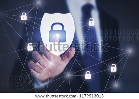 cybersecurity concept, cyber security shield button with padlocks on touch screen