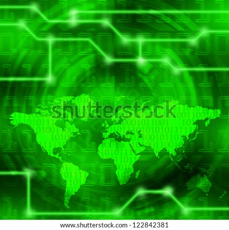 cyberspace and binary code planet futuristic illustration - stock photo