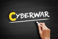 Cyberwar text on blackboard, internet concept background